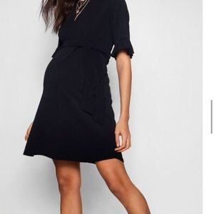 Dresses & Skirts - Black Tie-waist Ruffled Maternity Dress